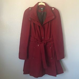 EUC Calvin Klein Red Wine Long Peacoat Pleated s L